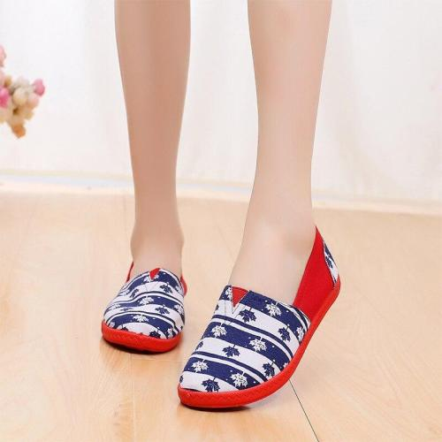 New Woman Canvas Slip On Casual Loafers Striped Flats Spring Ladies Cloth Moccasins Pattern Casual Lazy Shoes Female Fashion