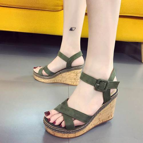 Casual shoes woman high heels women sandals 2019 new fashion solid wedges women shoes high heels buckled adult sandals women