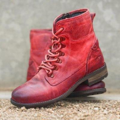 Flat Heel Combat Boots