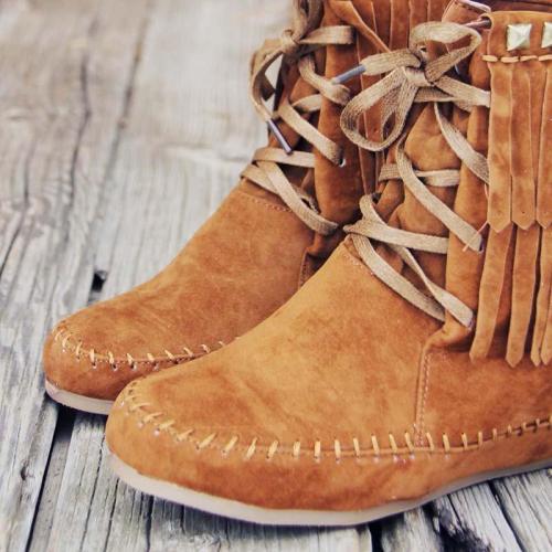 Plus Size Tassel Boho Suede Wedge Heel Ankle Boots
