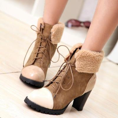 Lace Up Chunky Heels Short Boots Plus Size Women Shoes 3009