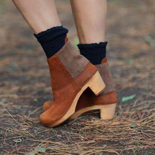 Slip-On Elastic Band Suede Clog Heel Ankle Boots