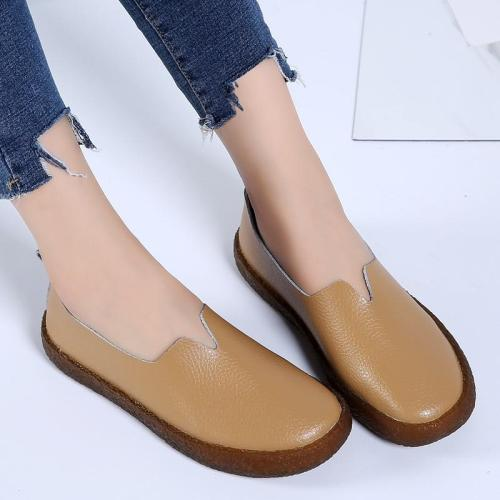 female Casual shoes women flats 2020 fashion genuine leather flats shoes woman slip-on comfortable women summer shoes plus size