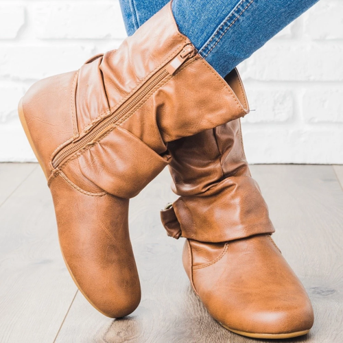 Women's flat bottom round head boots large size