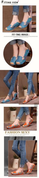Women Shoes Flower Print Women Genuine Leather Shoes Female Flat Flexible women Casual Flats Shoes Chaussure Femme Loafer