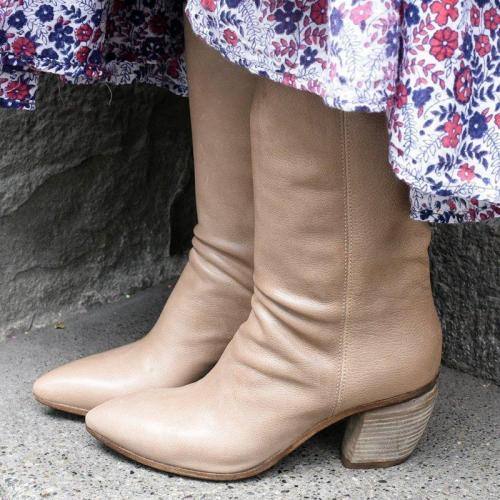 Block Heel Pointed Toe Slip-On Mid-Calf Boots Vintage Booties