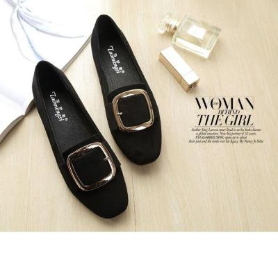 Summer Fashion Pure Color Square Buckle Flat Women's Shoes Fashion Square Head Low-heeled Girl Loafer Casual Shoes YX0022