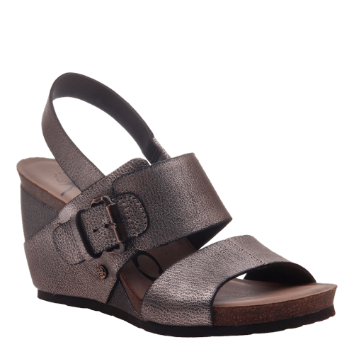 OVERNIGHT in GREY PEWTER Wedge Sandals