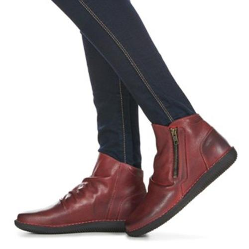 Women Winter Vintage Ruched Zipper Ankle Boots