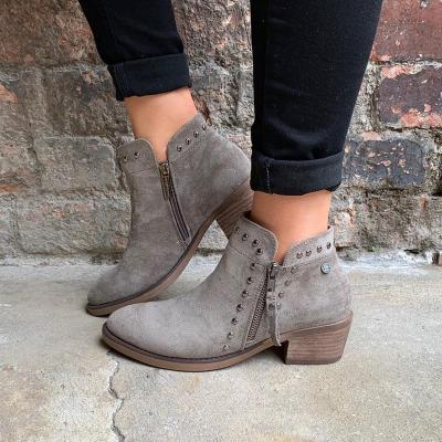 Block Heel Faux Suede Rivet Boots Side Zipper Boots