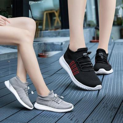 Womens Flyknit Fabric Flat Heel Adjustable Buckle Sneakers