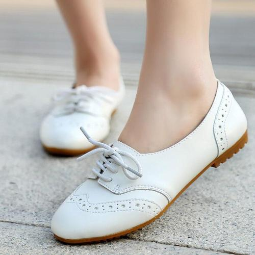 Fashion Brogues Woman Hollow Lace Up Sturdy Sole Flat Shoes Women Casual Solid Comfy PU Leather Shoes Woman Rubber