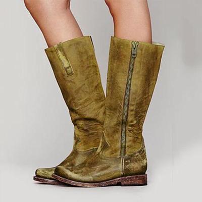 Flat Heel Boots With Zipper