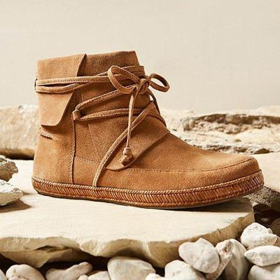 Women Winter Vintage Lace-Up suede Ankle Boots