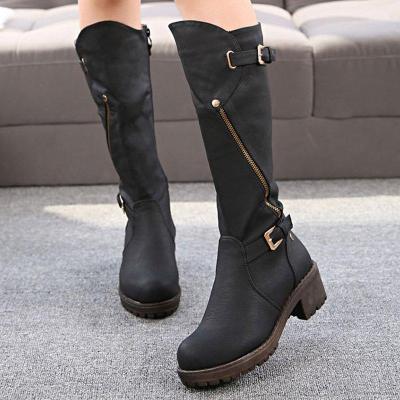 Women Chunky Heel Boots Casual Zipper Knight Boots