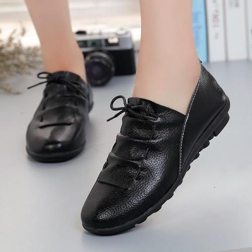 Genuine leather flats shoes woman 2020 new rubber lace-up flat with casual shoes women outdoor solid fashion women summer shoes