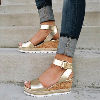 Fashion Versatile Wedge Heel   Strap Sandals