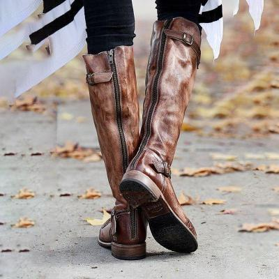 Women's Vintage Leather Knight Boots
