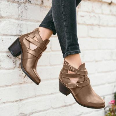 Women All Season Daily Leather Hollow-Out Boots