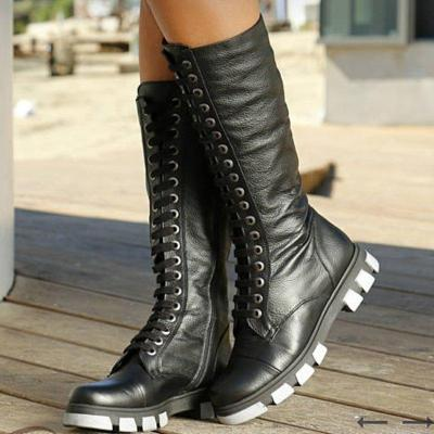 Mid-Calf Zipper Artificial Leather Boots Womens New Casual Boots