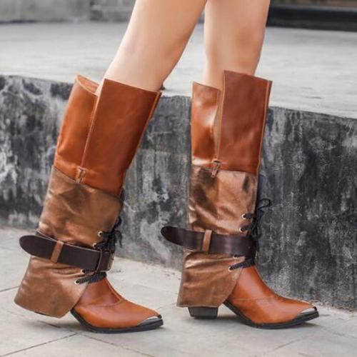 Buckle Strap Chunky Heel Pu Leather Knee-High Boots