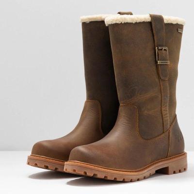 Women Slide Snow Boots Pu Working Chunky Heel Winter Shoes