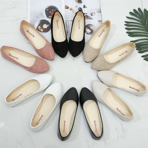 Plus Size 34-43 Women Flats Faux Suede Slip on Flat Shoes Ballet Flats Loafers Boat Shoes White Ladies Shoes Female  H7571