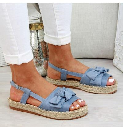 Summer Casual Bow Tie Womens Sandals Buckle Strap Flats Sandals Shoes For Woman Solid Color Peep Toe Sandal