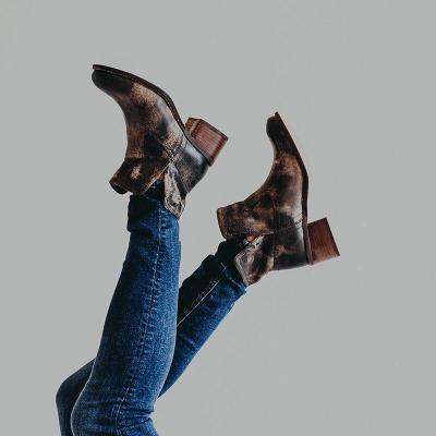 Womens Chunky Heel Slip-On Vintage Ankle Boots