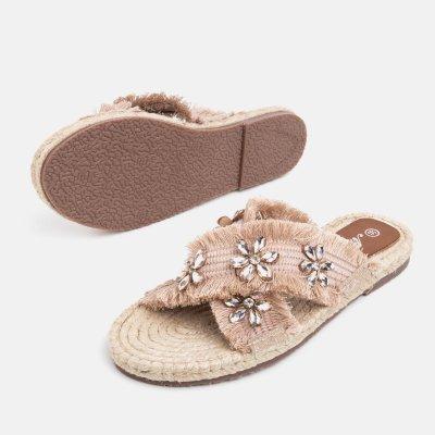 Women Casual Comfort Flower Slippers Peep Toe Shoes