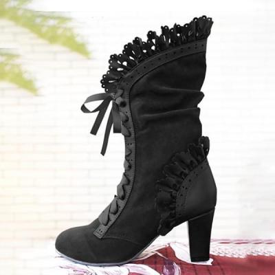 Bohhemian  Cosplay Gothic Boots with Vine Curl Heel Knee High Steampunk Boots
