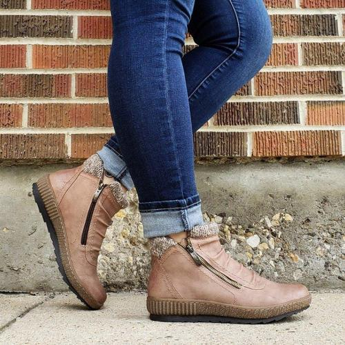 Zipper Flat Heel Ankle Boots Plus Size Womens Daily Boots