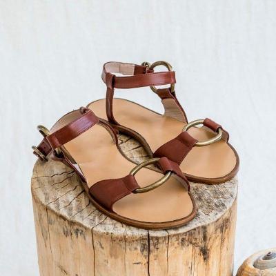 Artificial Leather Adjustable Buckle Flat Heel Sandals