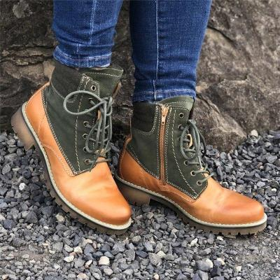 Women Lace Up Casual Daily Color Matching Boots