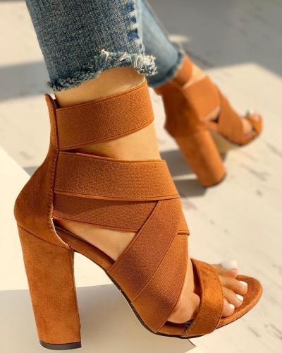 Bandage Crisscross Chunky Heeled Sandals