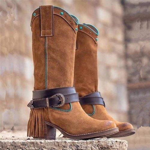 Women Casual Slip-On Low Heel Mid-Calf Tassel Boots