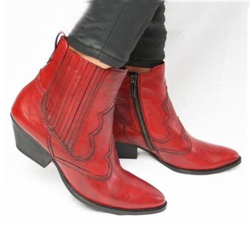 Chunky Heel Pointed Toe Zipper Ankle Boots Womens Casual New Boots