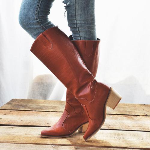 Office Slip On Chunky Heel Winter Knee Boots