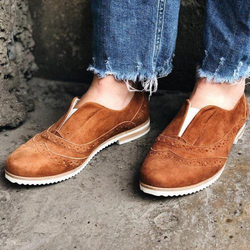 Women Round Toe Slide Low Heel All Season Casual Loafers
