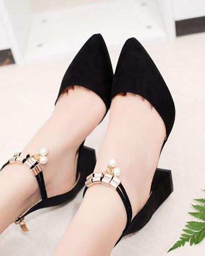Buckle rhinestone pointed high heels
