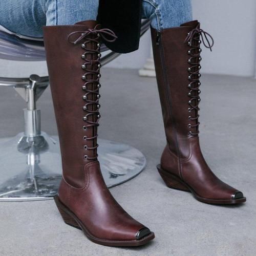 Daily Genuine Leather Zipper Wedge Heel Boots