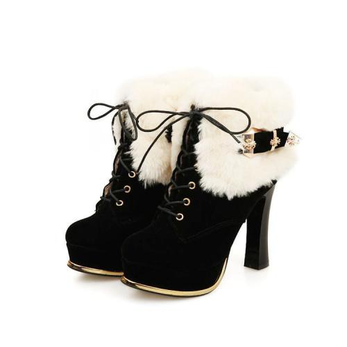 Lace Up Fur Platform Short Boots Plus Size Women Shoes 8967