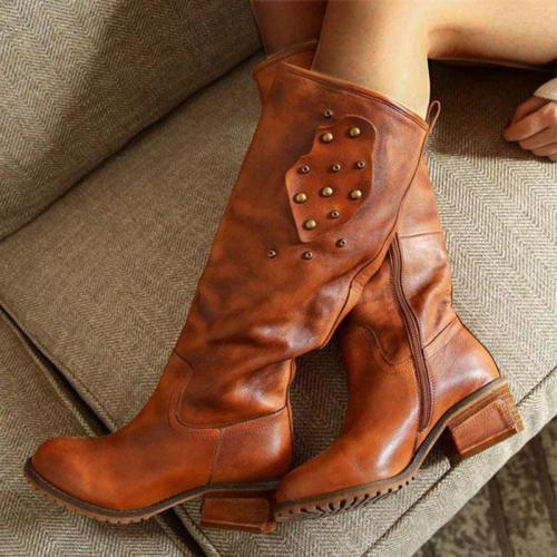 Chunky Heel Zipper Mid-Calf Artificial Leather Rivet Boots