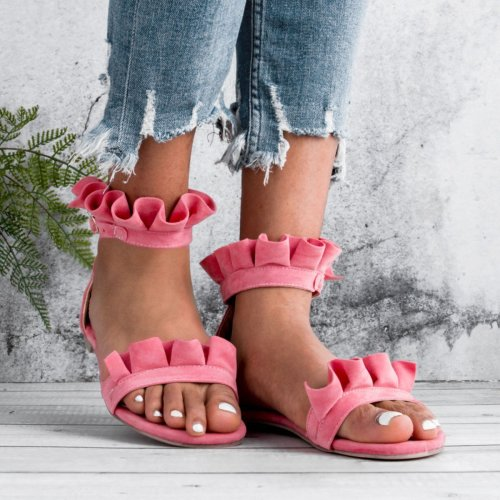 Date Peep Toe Flat Ruffle Buckle Sandals