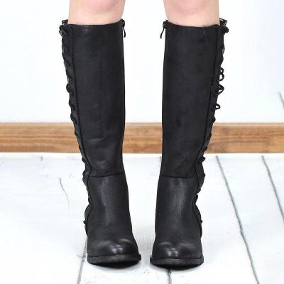 Autumn Fashion Side Zipper Lace Up Chunky Heel Knee Boots