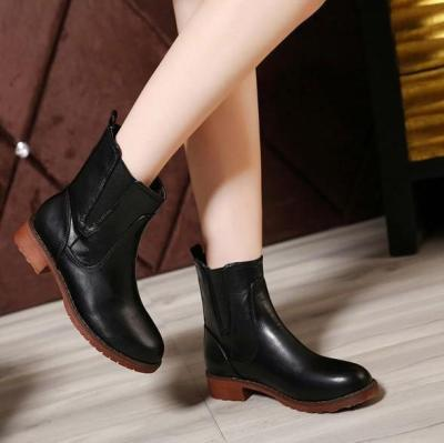 Faux Leather Ankle Boots Gum Outsole 8885