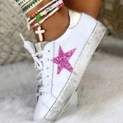 Sparkling Glitter Star Flat Heel Sneakers