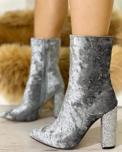 Velvet Point Toe Sequins Chunky Heeled Boots
