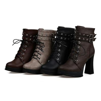 Women Shoes Studded Lace Up Motorcycle Boots Platform Short Boots