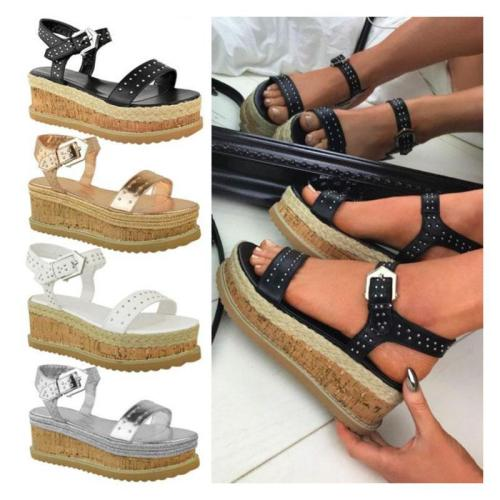 StoriLoop Buckle Pu High Wedge Espadrilles Sandals